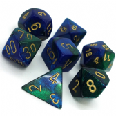 Blue & Green Gemini Polyhedral 7 Dice Set